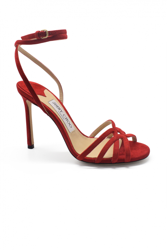Luxury shoes for women - Jimmy Choo Mimi 100 sandals in red suede