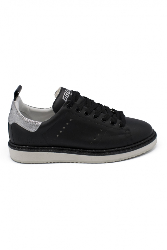 Luxury shoes for women - Golden Goose Starter black leather sneakers