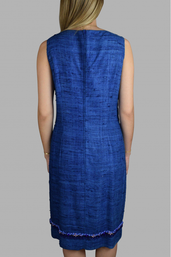 Luxury dress for women - Prada blue dress with embroidered pearls
