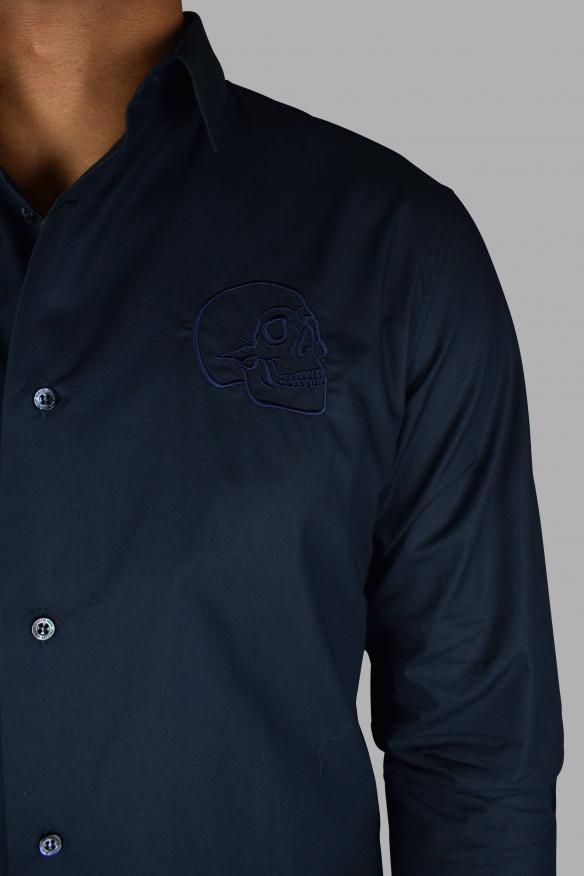 Men's luxury shirt - Gold Cut LS Skull Philipp Plein blue shirt with embroidered skull