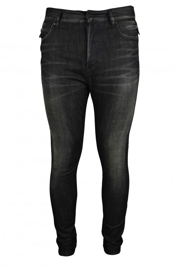 Luxury jeans for men - faded black Balmain jeans