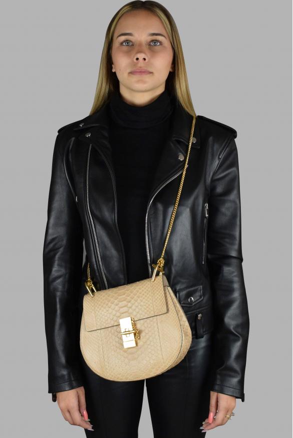 Luxury handbag - Chloé Drew pink python shoulder bag