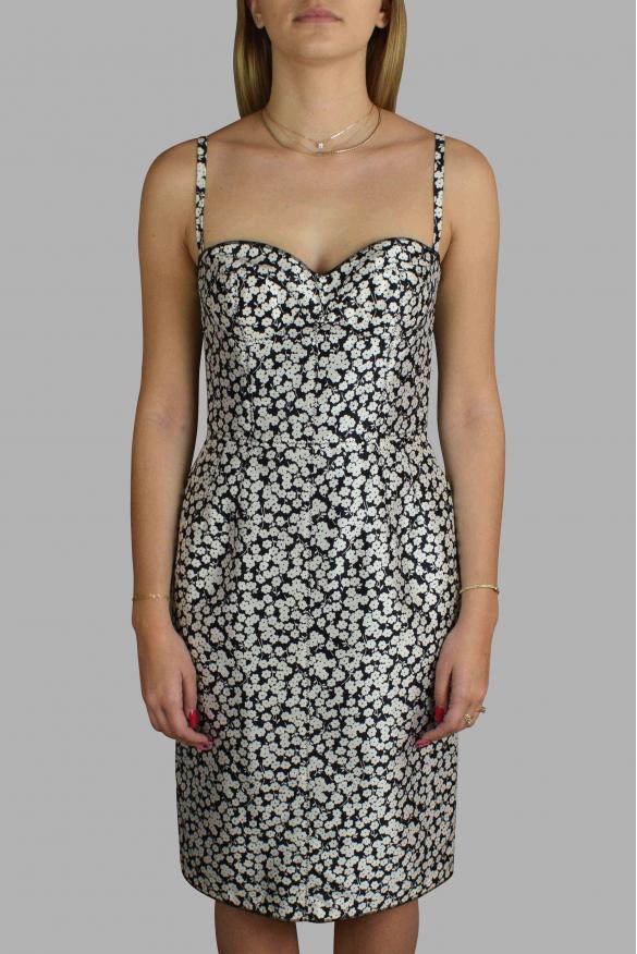 Luxury dress for women - Dolce & Gabbana black dress with white flowers