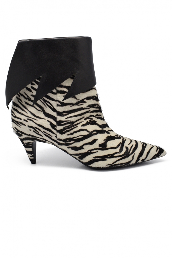 Luxury shoes for women - Saint Laurent ankle boots in striped foal.