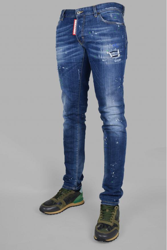 Men's designer jeans - Dsquared2  blue Slim Jean with faded effect