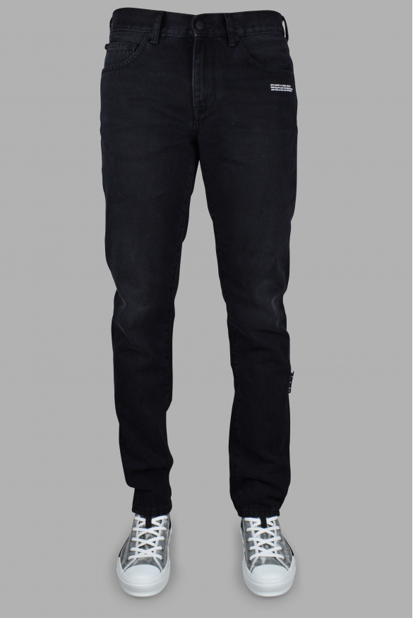 Men's luxury jean - Black Off-White jean with green patch
