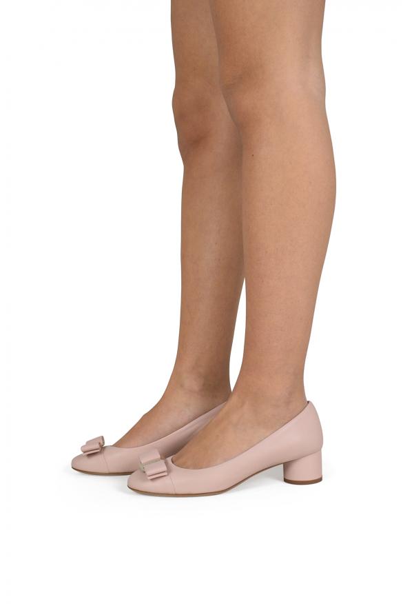 Luxury shoes for women - Salvatore Ferragamo Ivrea pink powder pumps
