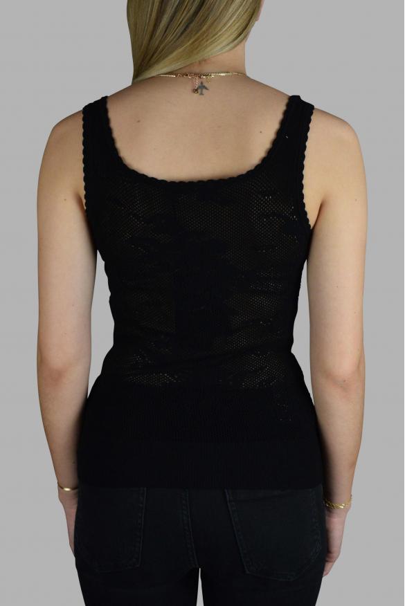 Women's luxury top - Dolce & Gabbana black openwork top.