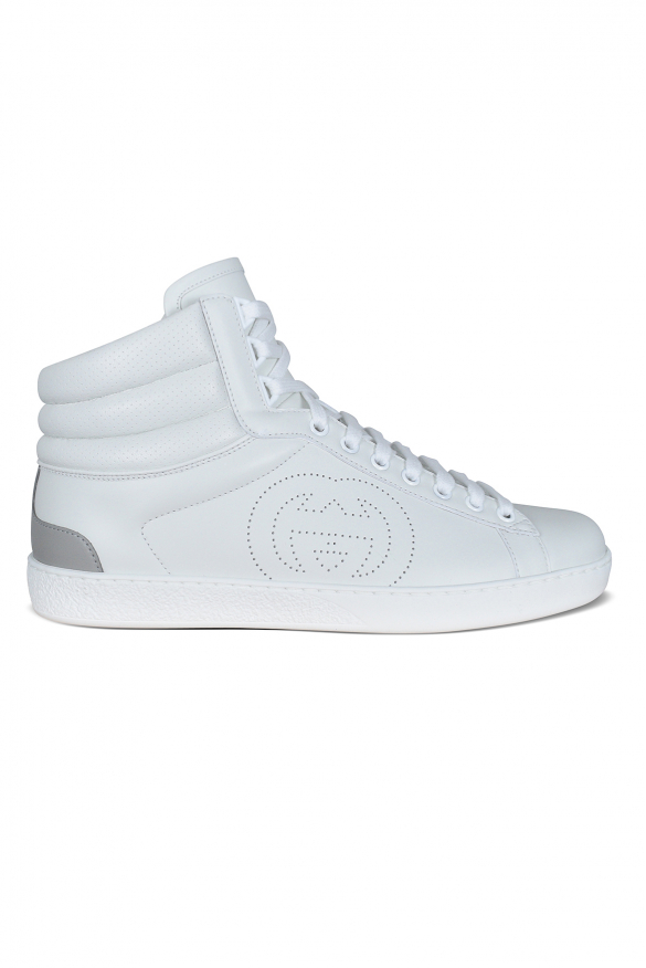 Men's luxury sneakers - Ace Gucci high top sneakers in white leather