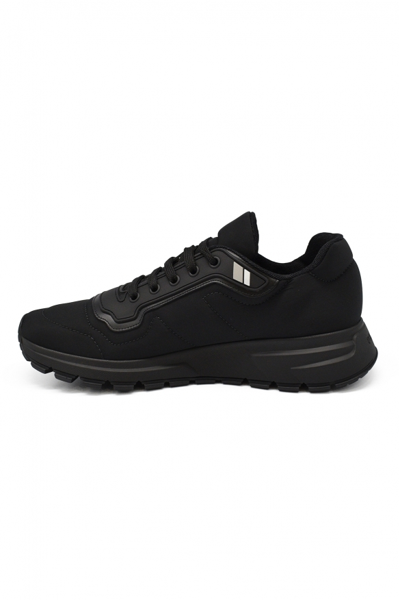 Luxury sneakers for men - Prada Gabardine Soft sneakers in black fabric