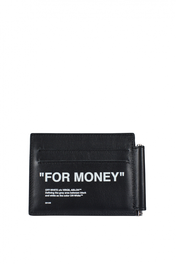 Men's luxury wallet - Off-White  For Money  wallet in black leather