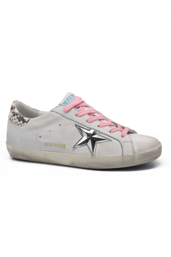 Women's luxury sneakers - Golden Goose Superstar sneakers in white leather with python buttress