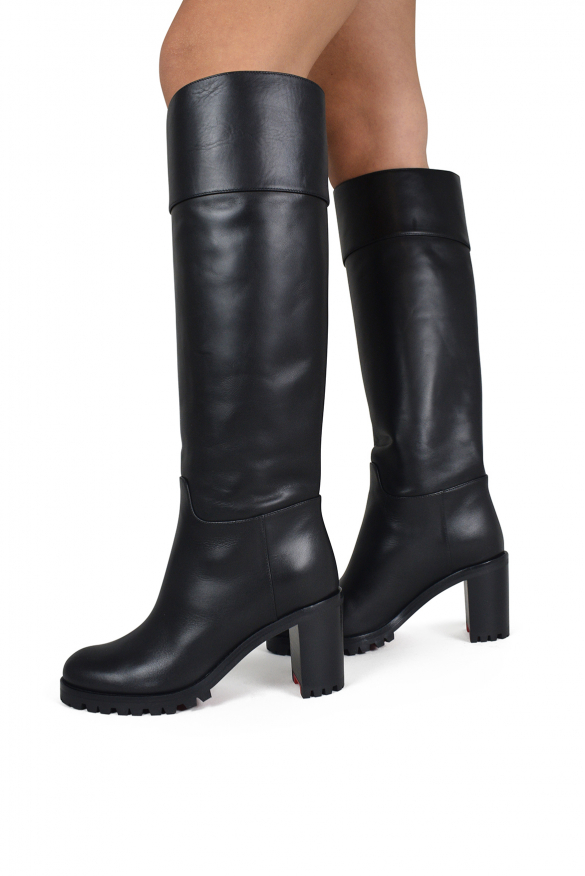 Women's luxury boots - Louboutin Kari Lug 70 boots in black leather