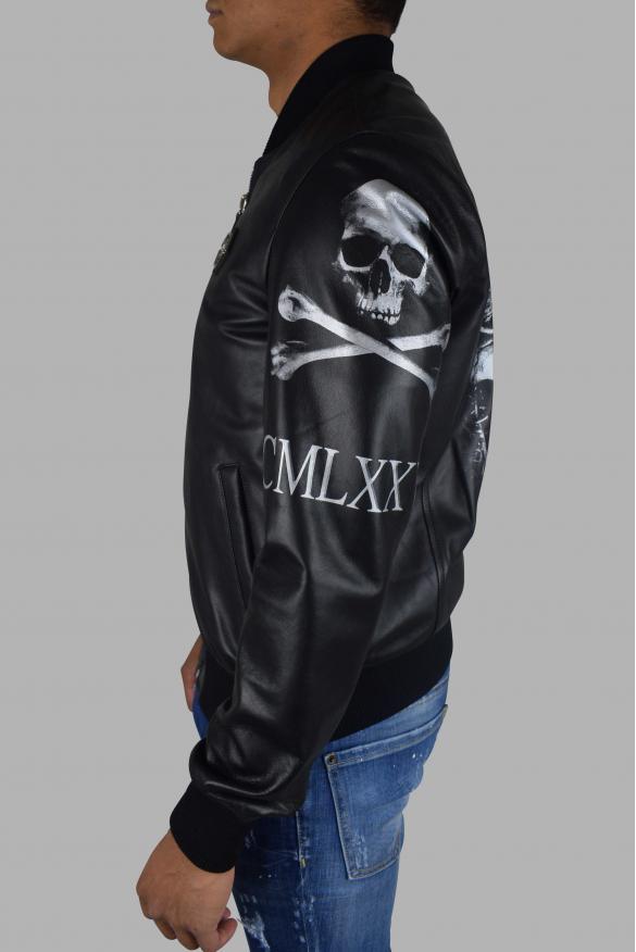 Men's designer jacket - Philipp Plein Bomber jacket in black leather