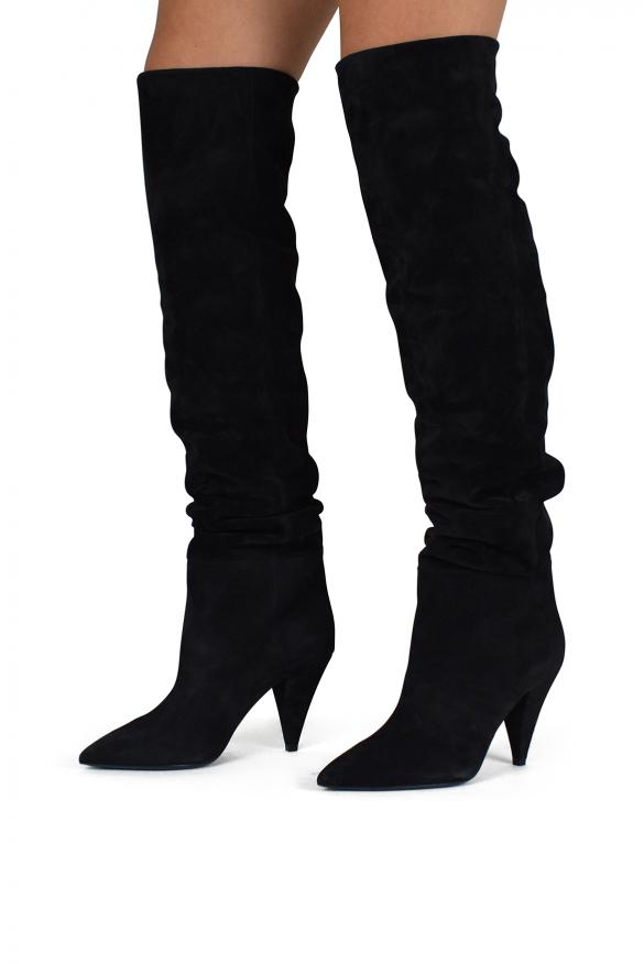 Women luxury shoes - Saint Laurent Era 85 over-the-knee black boots