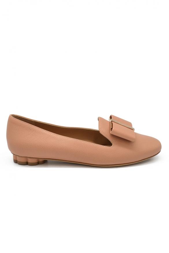 Luxury shoes for women - Salvatore Ferragamo slippers flower heel nude