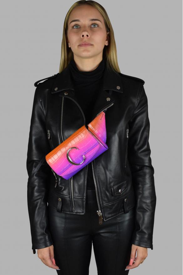 Luxury belt bag - Chloé C belt bag in orange and purple crocodile embossed leather