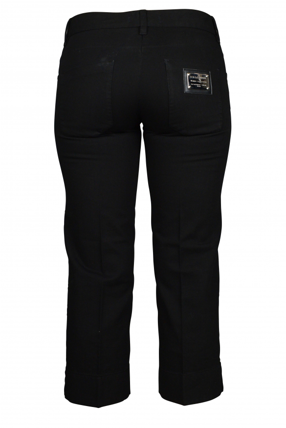 Luxury cropped trousers for women - Black Dolce & Gabbana pants with silver logo