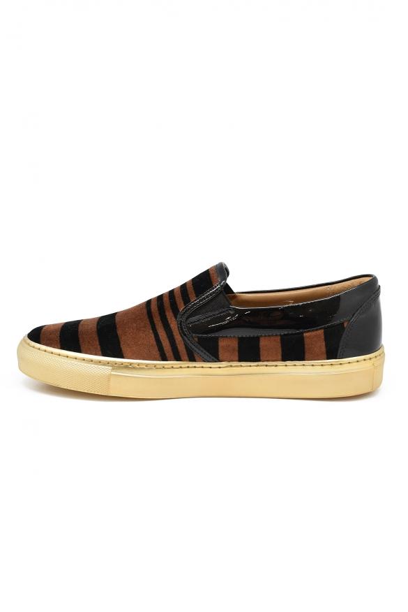 Luxury shoes for women - Sonia Rykiel slip-on in brown and black velvet