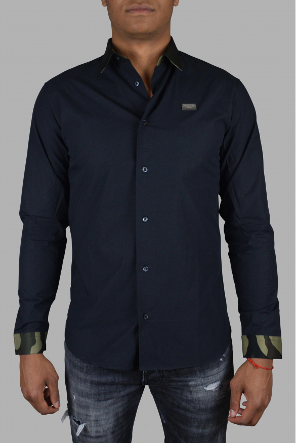 Luxury shirt for men - Philipp Plein black shirt with camouflage details