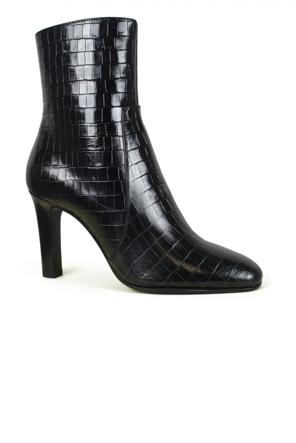 Luxury shoes for women - Saint Laurent Jane ankle boots in black crocodile embossed leather