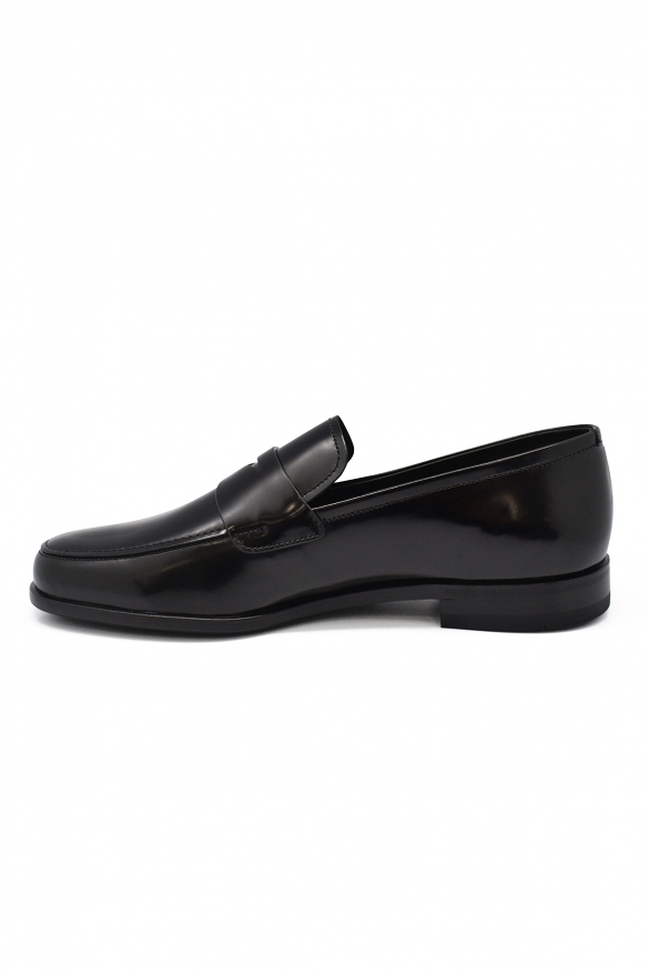 Luxury shoes for men - Prada mocassins in smooth black leather