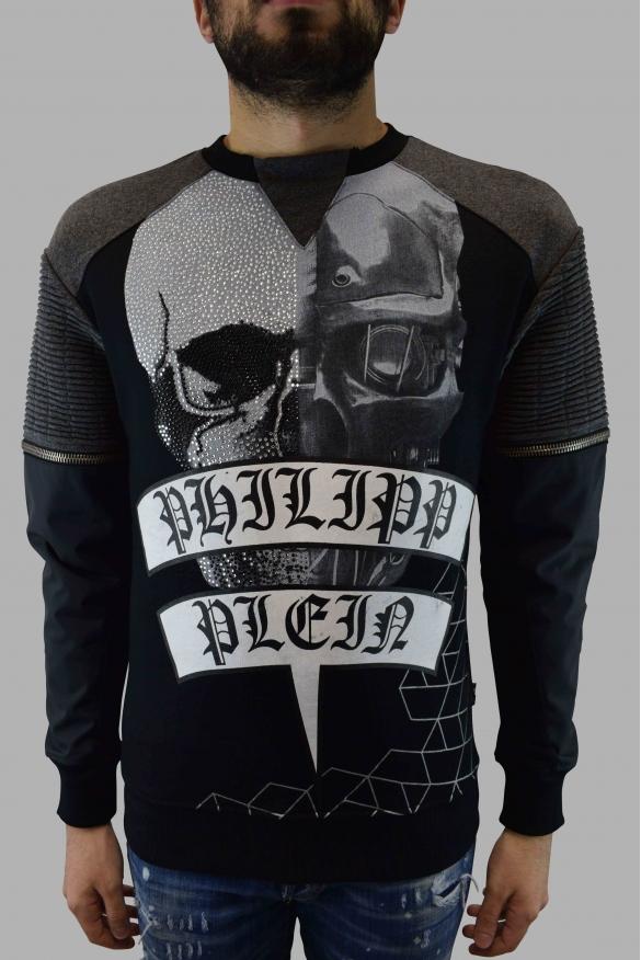 Men's designer hoodies- Philipp Plein grey Sweatshirt LS  Isako