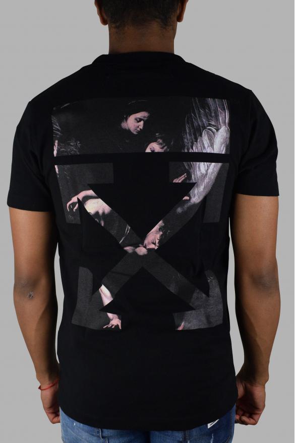 Men's luxury t-shirt - off-white black caravaggio arrow logo t-shirt