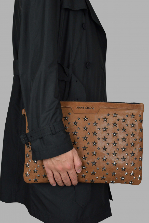 Luxury bags for men - Jimmy Choo Derek in brown leather with silver stars