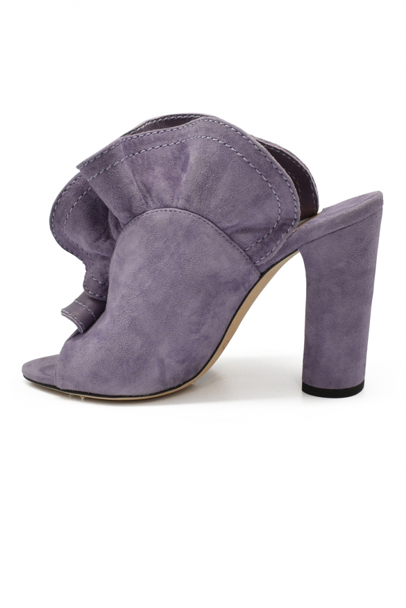 Luxury shoes for women - Jimmy Choo Haile 100 purple suede mules