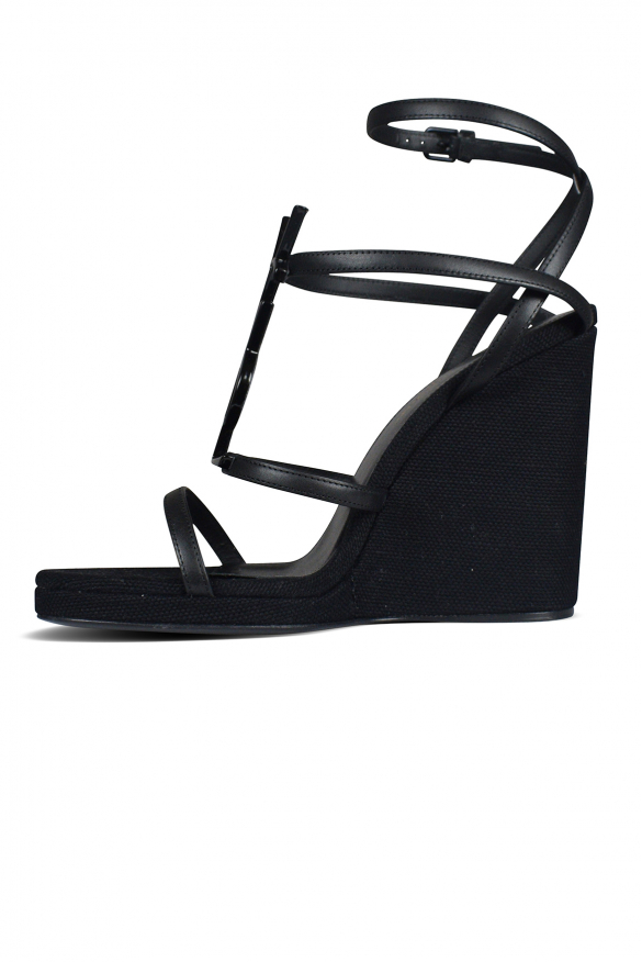 Women's luxury espadrilles - Saint Laurent Cassandra black espadrilles in canvas