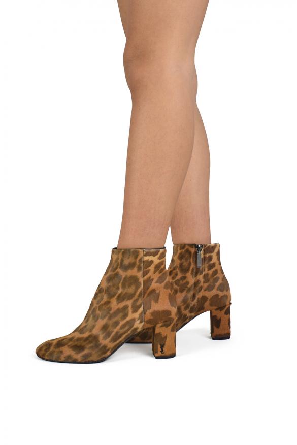 Luxury shoes for women - Saint Laurent Loulou leopard ankle boots