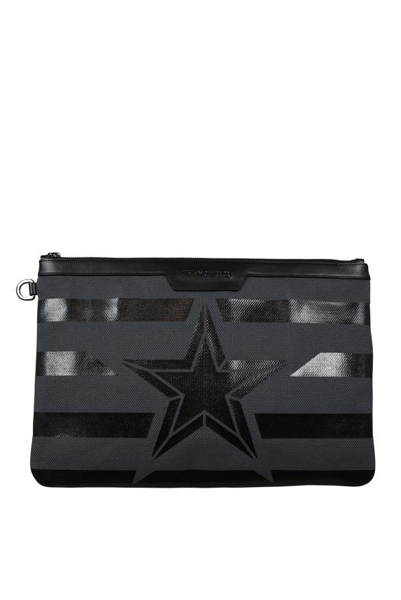 Luxury bags for men - Derek Jimmy Choo clutch bag in gray canvas