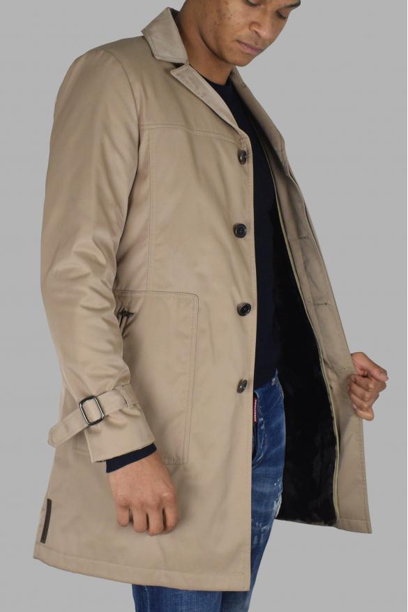 Men's luxury coat - Prada beige coat with fur lining