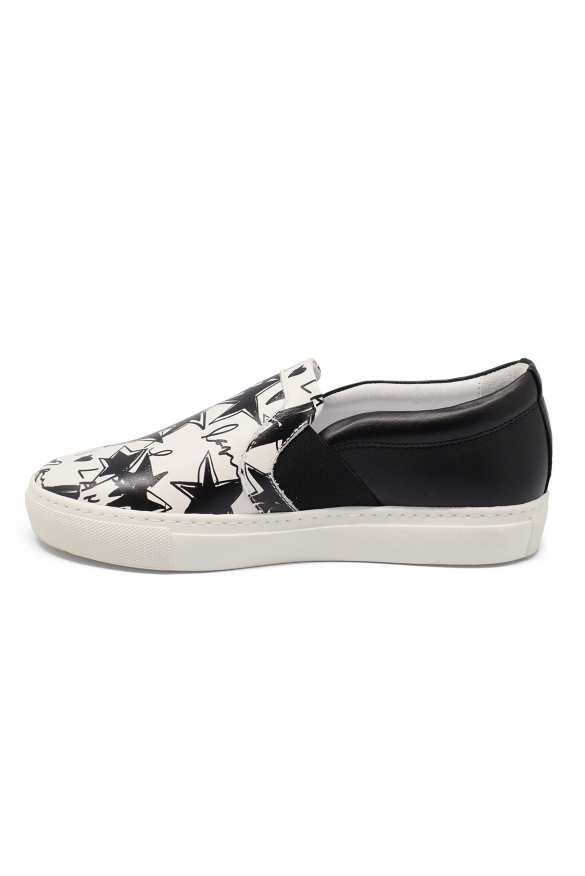 Luxury shoes for women - Lanvin black and white stars slippers