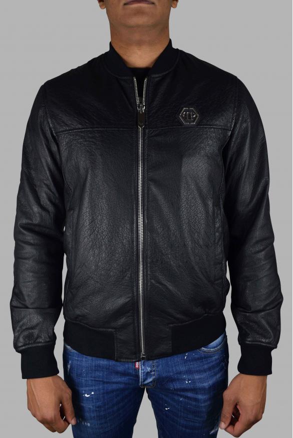 Men's luxury jacket - Philipp Plein Bomber jacket in black leather with logo plate