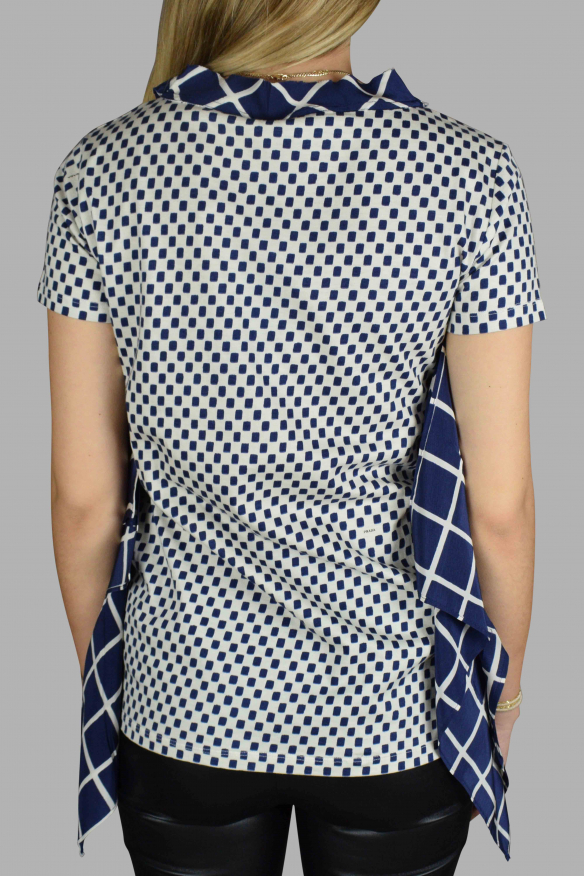 Women's luxury t-shirt - Prada blue and white patterned top