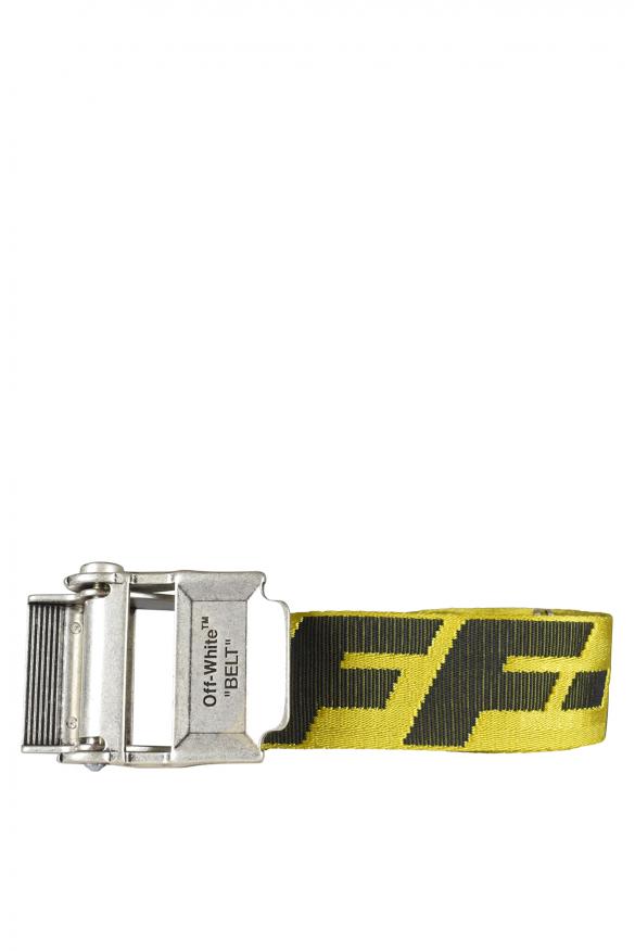 Men's luxury belt - Off-White yellow belt with black logo