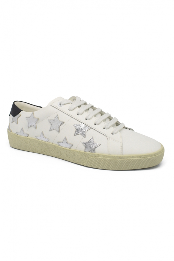 Men's luxury sneakers - Saint Laurent Court Classic SL/06 sneakers in white leather with silver stars