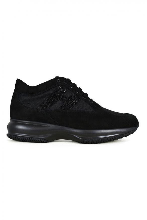 Luxury shoes for women - Hogan Interactive N20 sneakers in black suede
