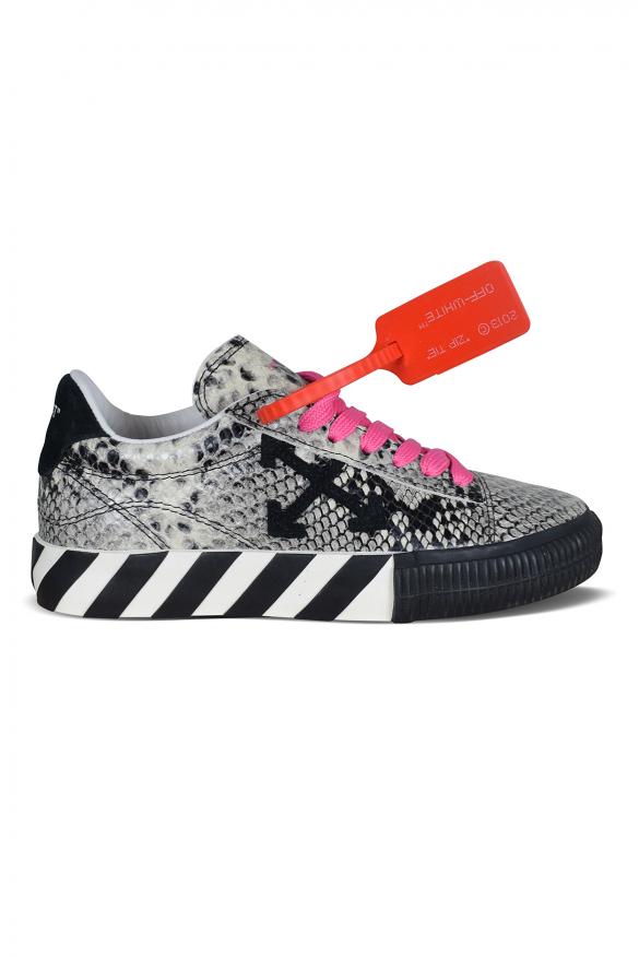 Women's luxury sneakers - Low Vulcanized Off-White sneakers snake effect