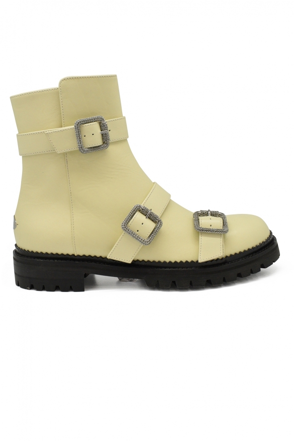Luxury shoes for women - Jimmy Choo Hank Flat boots in cream leather