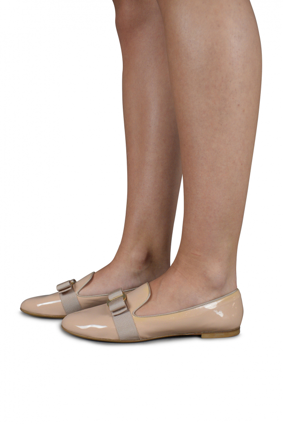 Luxury shoes for women - Salvatore Ferragamo loafers in beige leather