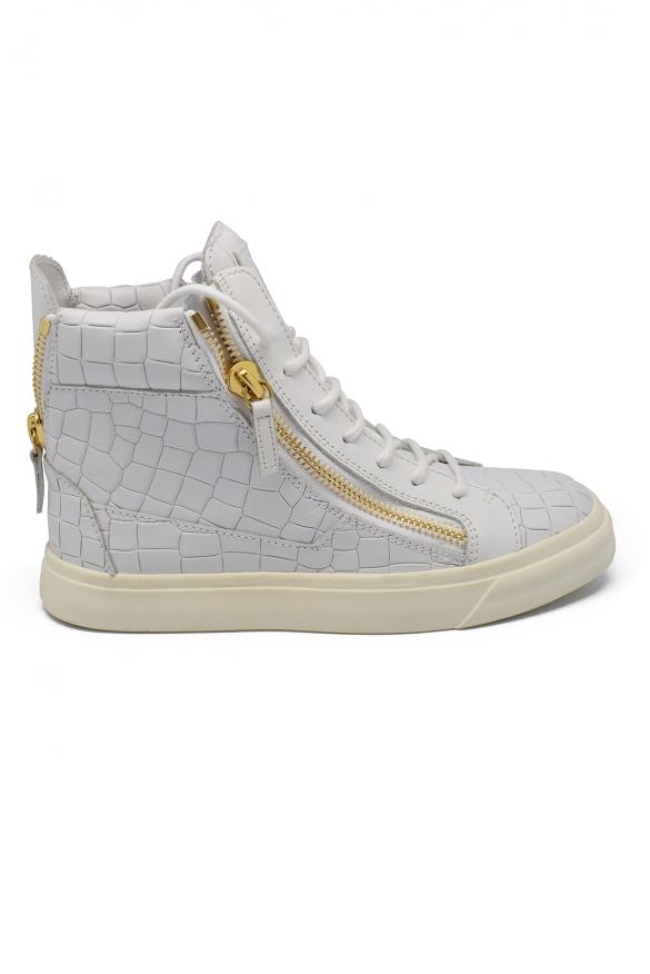 Luxury shoes for women - Giuseppe Zanotti Frankie high croco sneakers
