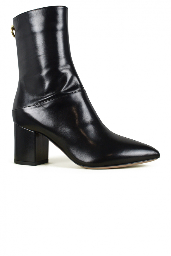 Luxury shoes for women - Valentino black leather boots low heel