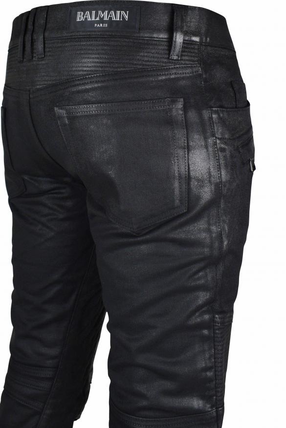 Men's luxury jeans - Black Balmain Biker jeans