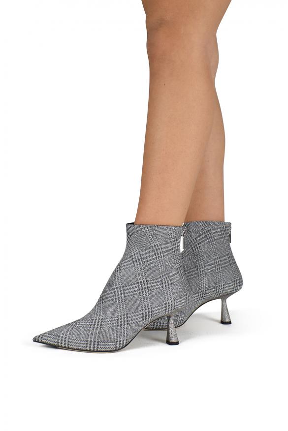 Luxury shoes for women - Jimmy Choo Kix 65 grey glitter ankle boot