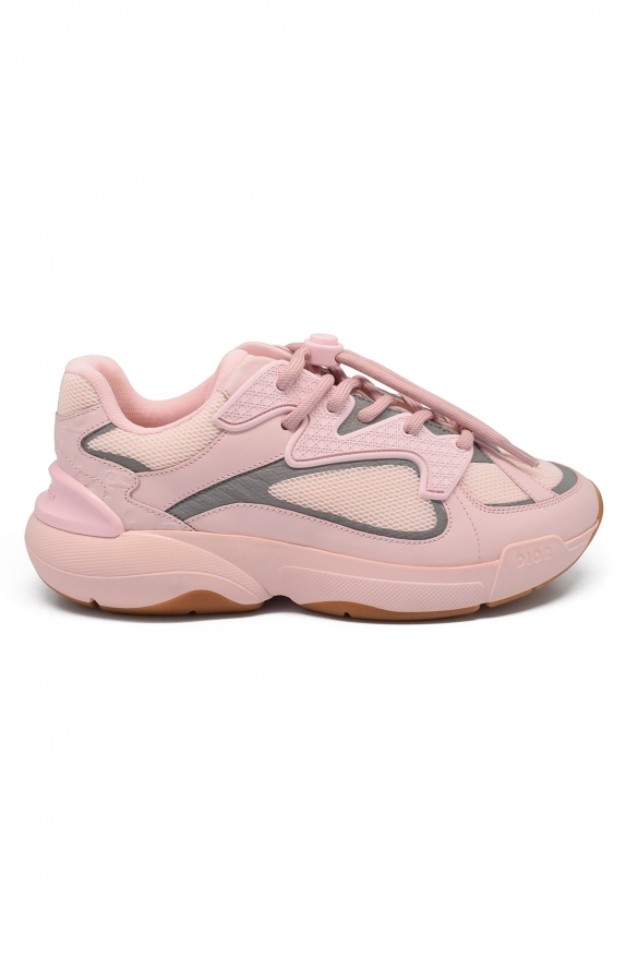 Luxury sneakers for women -  B24 Dior sneakers in pink technical knit.
