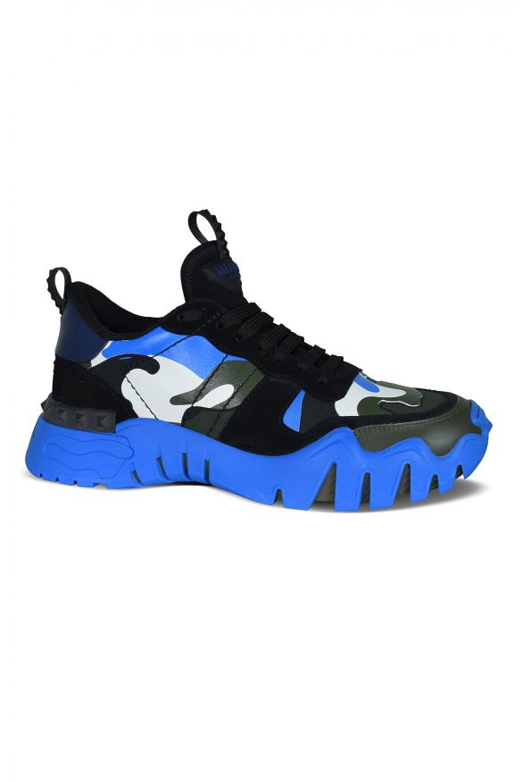 Men's luxury sneakers - Valentino Garavani Rockrunner Plus Camouflage blue sneakers
