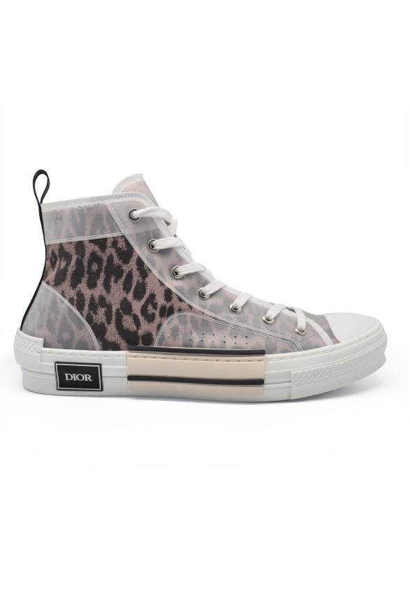 Men's luxury sneakers -  Sneakers Dior model B23 high brown leopard